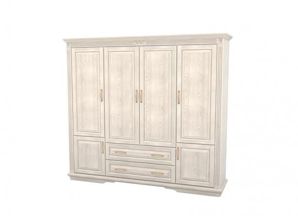 Шкаф из массива 4-х створчатый Палермо  с ящиками беленый дуб