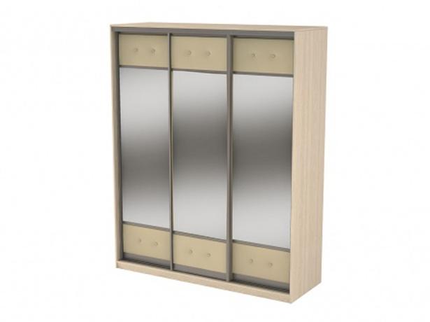 Купить шкаф-купе 3-х дверный  Неро/Сезия зеркальный дуб шамони-бежевый