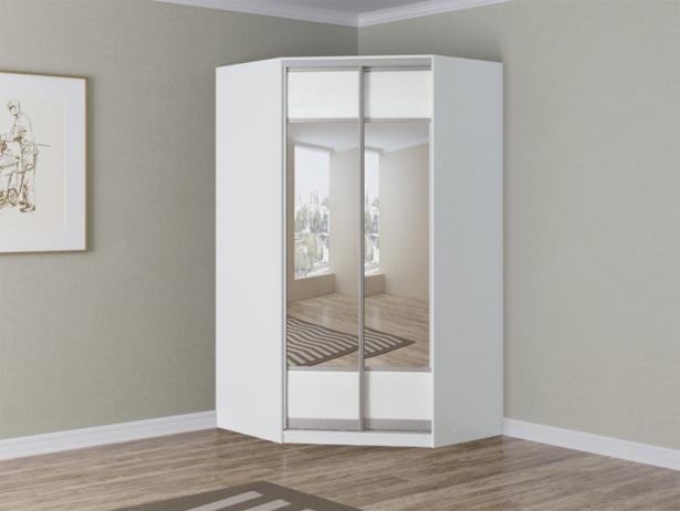 Белый шкаф угловой Como/Veda зеркальный