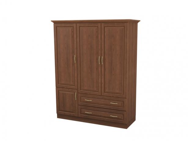 Купить шкаф распашной 3-х створчатый с ящиками Эдем орех
