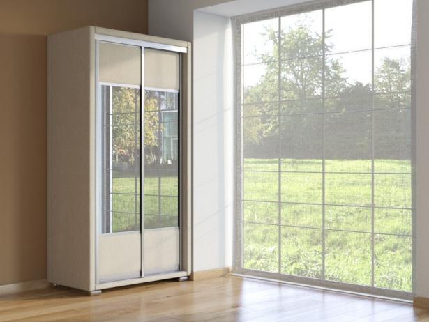 Шкаф-купе 2-х дверный зеркальный Orma Soft Ткань  Глазго Бежевый