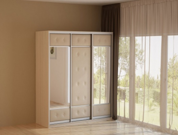 Светлый шкаф-купе 3-х дверный  Неро/Сезия 2 зеркала