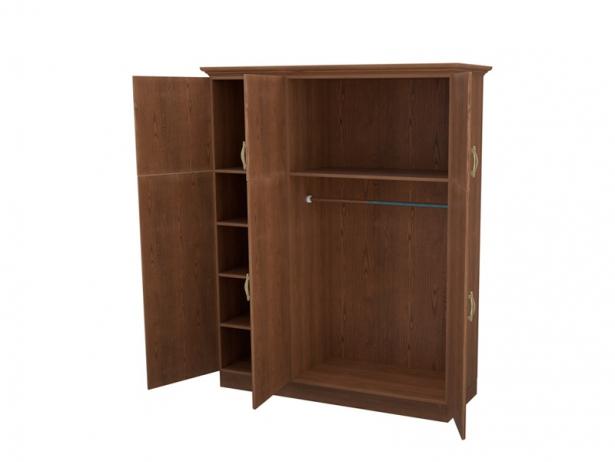 Распашной шкаф из массива 3-х створчатый с ящиками Эдем орех