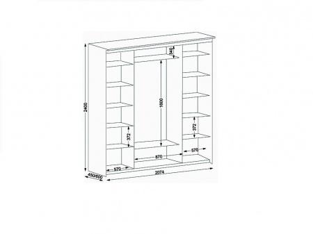 Схема шкафа купе Элит 4-х дверный зеркальный 2074
