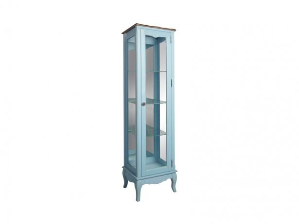 Голубой узкий шкаф Leontina для посуды