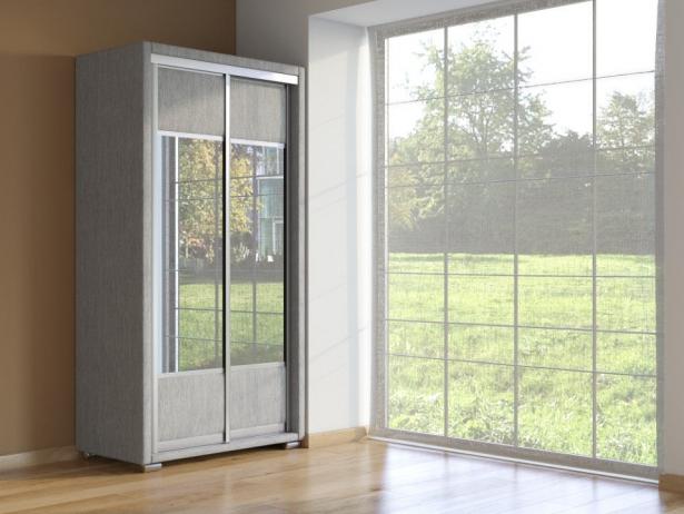 Шкаф-купе 2-х дверный зеркальный Orma Soft Ткань Лофти Лен