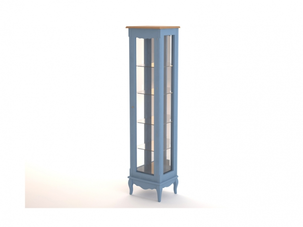 Голубой высокий шкаф Leontina для посуды