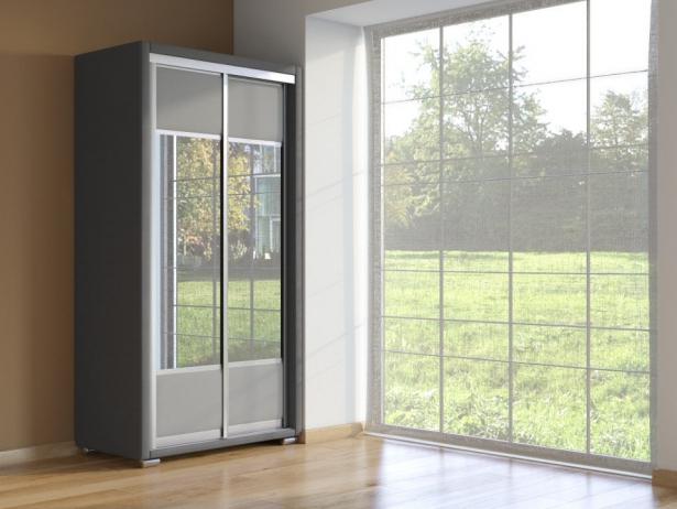 Шкаф-купе 2-х дверный Orma Soft темно серый-серый