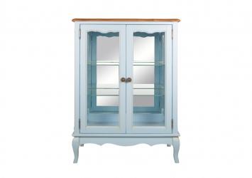 Голубой двустворчатый шкаф Leontina для посуды